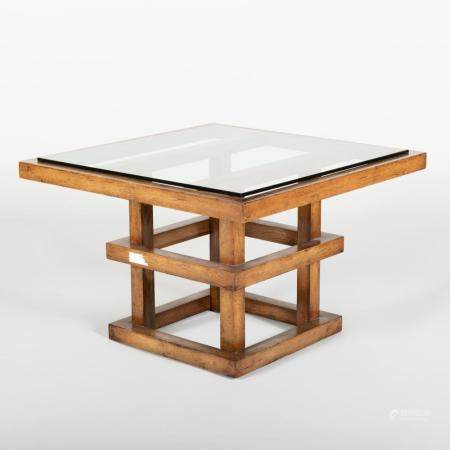 """Modern """"Malevich"""" Oak and Glass Low Table"""