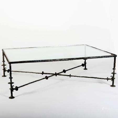 Modern Bronze and Glass Low Table, in the Manner of Giacomet