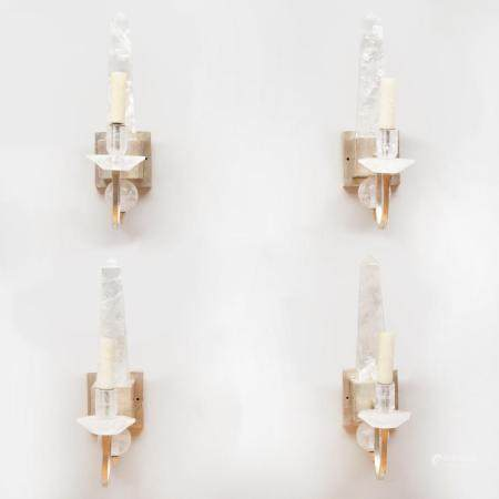 Set of Four Rock-Crystal and Polished Nickel Single Light Sc