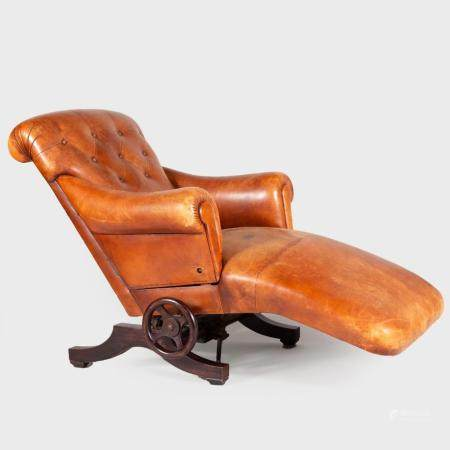 Unusual French Leather and Stained Wood Reclining Chaise Lou