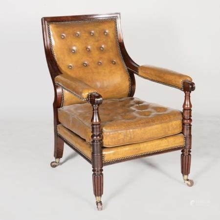 Late George IV Mahogany and Leather Upholstered Library Armc