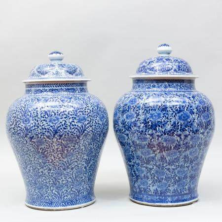 Near Pair of Large Chinese Export Blue and White Porcelain J