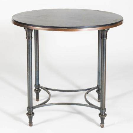 Modern French Gun Barrel Metal and Patina Brass Table with S