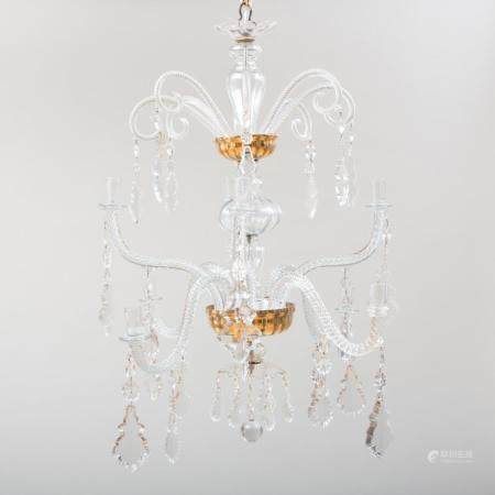 Modern Gilt and Clear Glass Eight-Light Chandelier, Possibly