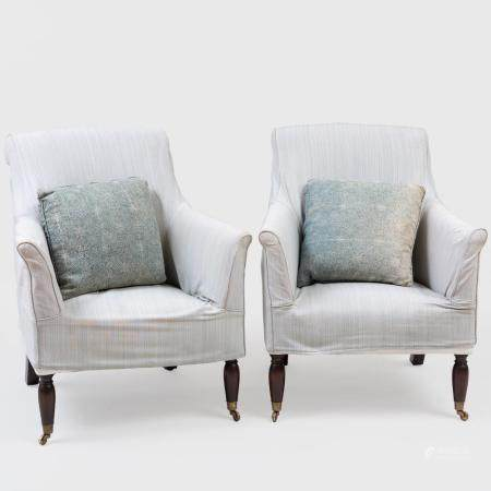 Pair of Pale Blue Striped Linen Slip Covered Armchairs