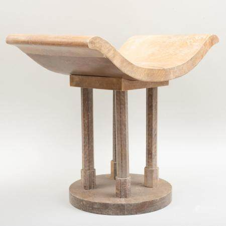 Modern Wood and Parchment Stool, in the Manner of Karl Sprin
