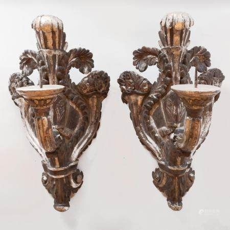 Pair of Large Italian Baroque Silver-Gilt and Grey Painted C