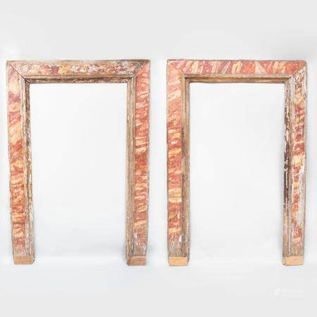 Pair of Large Faux Marble Door Surrounds, Probably Italian