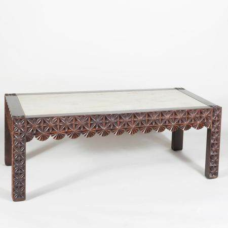Modern Carved and Stained Hardwood Low Table