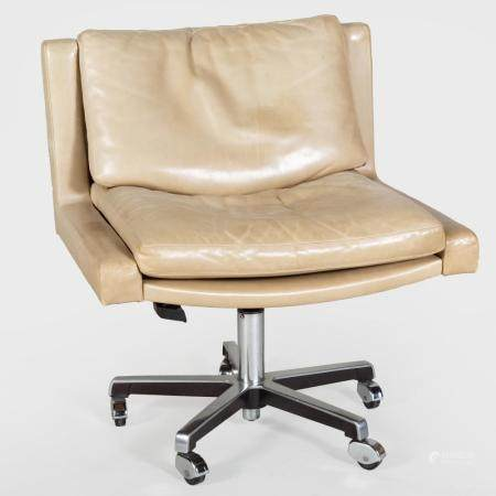 Swiss Leather and Chrome Plated Desk Chair, By de Sede