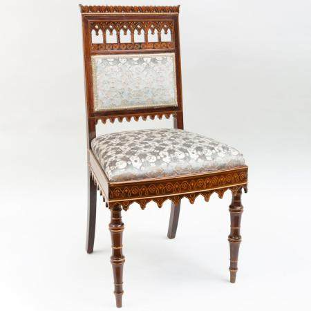 Charles X Inlaid Rosewood Side Chair, in the Neo-Gothic tast