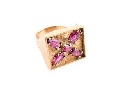 A 9ct gold gem-set dress ring