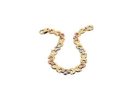 A 9 carat gold tri-coloured bracelet