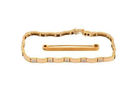 A bar brooch and a diamond bracelet
