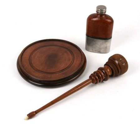 A Chinese hardwood vase stand, a turned wooden wool spinner together with a hip flask (3)