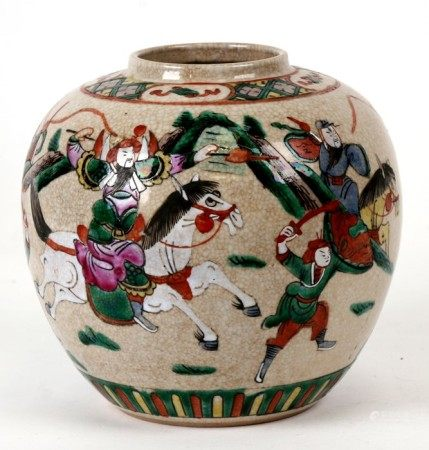 A Chinese crackle glaze ginger jar decorated with warriors on horseback, four character red mark