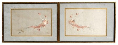 A pair of Chinese silk embroidered panels depicting dragons chasing a flaming pearl, framed &