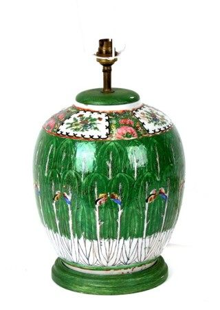A Chinese famille rose cabbage leaf vase decorated with butterflies and flowers, converted to a