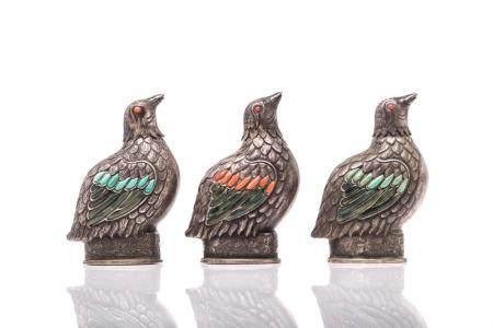 THREE MONGOLIAN SILVER FIGURAL BIRD SNUFF BOTTLES