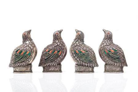 FOUR MONGOLIAN SILVER FIGURAL BIRD SNUFF BOTTLES