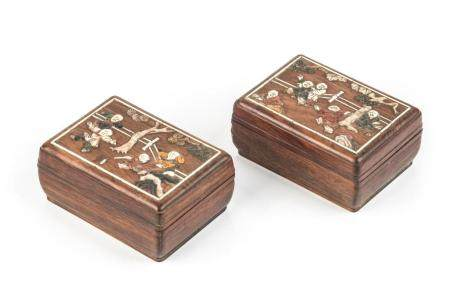 TWO CHINESE MIXED INLAID HARDWOOD BOXES