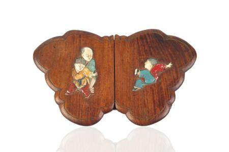 WOOD CARVED BUTTERFLY SHAPED BOX WITH INLAID COVER