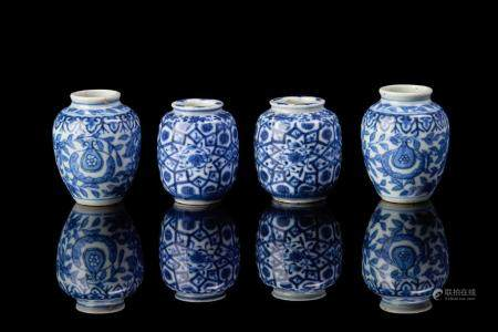 TWO PAIRS OF CHINESE BLUE & WHITE MINIATURE VASES
