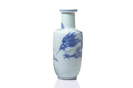 BLUE & WHITE PORCELAIN ROULEAU DRAGON VASE