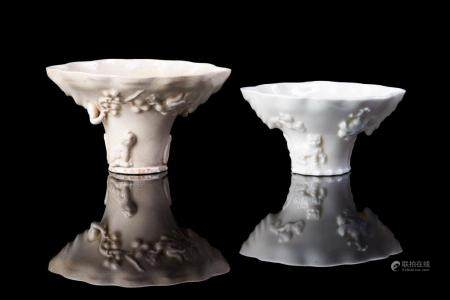 TWO DEHUA BLANC DE CHINE PORCELAIN LIBATION CUPS