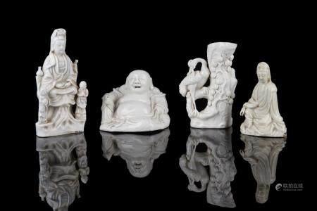 FOUR DEHUA BLANC DE CHINE PORCELAIN FIGURES
