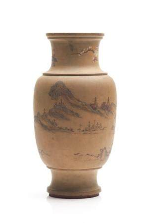AN EARLY YIXING POTTERY POLYCHROME PAINTED VASE