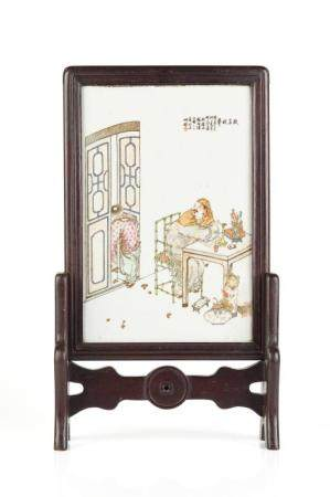 ENAMEL PAINTED PORCELAIN PLAQUE ON WOOD STAND