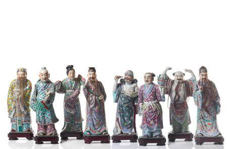 EIGHT FAMILLE ROSE PORCELAIN IMMORTAL FIGURES