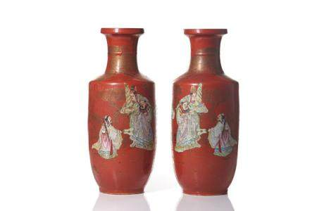 PAIR OF CORAL GROUND FAMILLE ROSE PORCELAIN VASES
