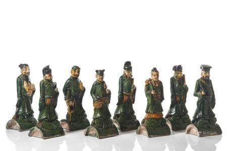 MING SANCAI POTTERY EIGHT IMMORTAL FIGURES