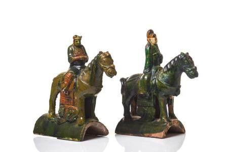 PAIR OF SANCAI GLAZED HORSE RIDER ROOF TILES
