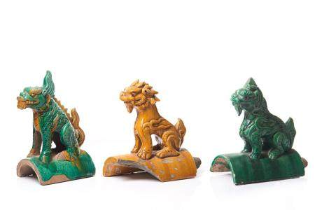 THREE CHINESE SANCAI MYTHICAL LION ROOF TILES