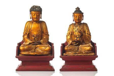 GILT & LACQUERED WOOD BUDDHA  AND BODHISATTVA
