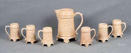 Juego de 7 jarras de cerveza en cerámica alemana.