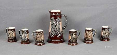 MANISES. Colección de 7 jarras de cerveza.