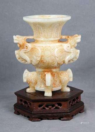 Copa china tallada en jade blanco, ppios. S.XX.