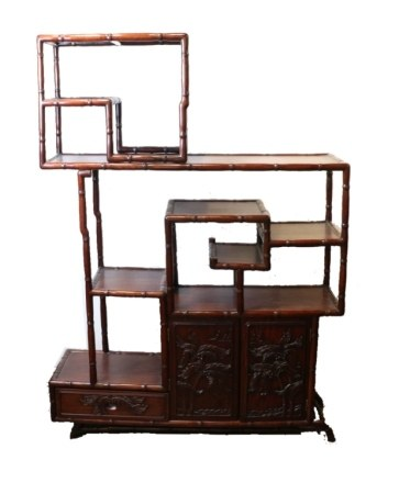 ROSEWOOD BAMBOO FORM CURIO CABINET, MID 20TH C.