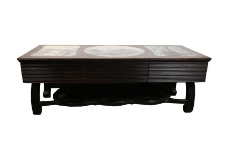 ROSEWOOD & MARBLE INLAY COFEE TABLE, MID 20TH C