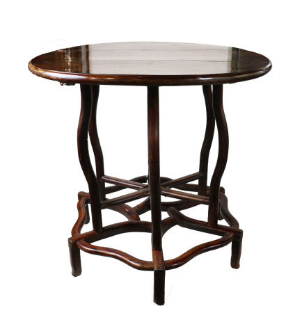 THREE-PIECE HARDWOOD FOLDING TABLE AND STAND,19 C.