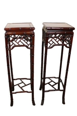 PAIR OF ROSEWOOD PLANT STANDS, MID 20TH C.