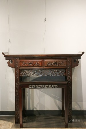 ROSEWOOD TWO PIECE ALTAR STAND, 20TH C.