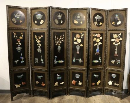 HARDSTONE INLAID SIX-PANEL WOOD SCREEN,REPUBLICAN P.