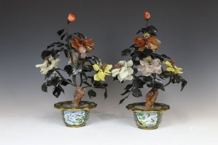 PAIR OF JADE BONSAI WITH CLOISONNE PLANTERS 60-70s