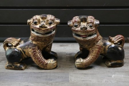PAIR OF LARGE GILT LACQUERED FU LIONS, LATE 19TH C