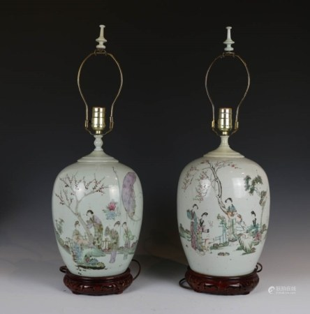 PAIR OF QIANJIANG SCHOOL GINGER JAR LAMPS, C. 1900